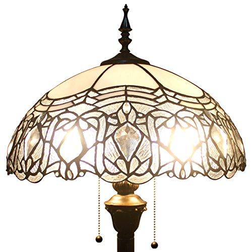 Tiffany Style Reading Floor Lamp Table Desk Lighting white shade W16H64 E26 - Antique Partners Desk