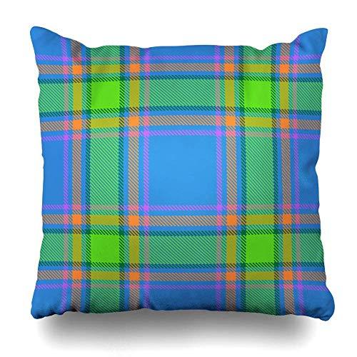 Picnic Blue Booking Tartan Plaid Geometric Bright Check Square Throw Pillow Cover Sham Decorative Pillowcase for Bed Sofa Couch Office Car, 18 x 18 inches(45 cm) ()