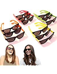 Neon Sunglasses - 80's Retro Vintage Party Sunglasses for Bigger Kids, Teens and Adults - 24 Pieces