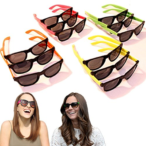 Dazzling Toys 24 Pairs Neon 80's Wayfarer Sunglasses Kids Teen Party Favors (Halloween Costume Ideas With Glasses)