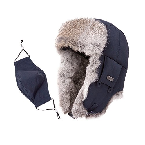 SIGGI Mens Russian Navy Bomber Hat Earflap Winter Trooper Trapper Real Rabbit Fur Hat for Women