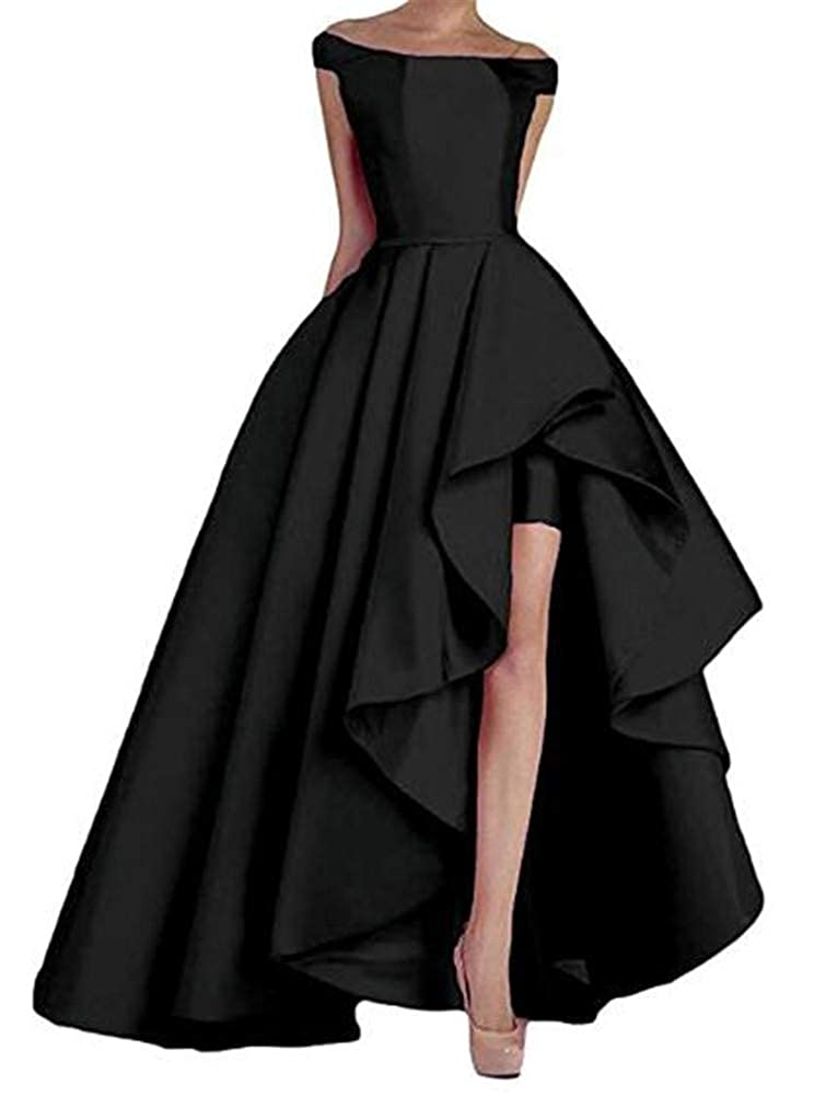 Black Yuki Isabelle Solid Lace Up Split Formal Gowns High Low Long Evening Party Dresses