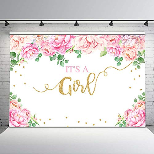 Mocsicka It's a Girl Baby Shower Backdrop Pink Floral Baby Shower Glitter Dots Background Vinyl 7x5ft Flower Baby Girl Photo Backdrops Photoshoot Props -