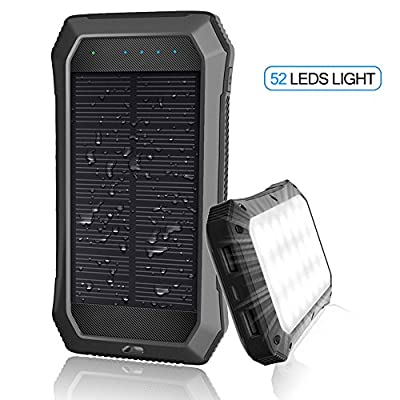 URWILL Solar Charger 10000mAh,Portable Solar Phone Charger, 2 USB Solar Power Bank Input 2.0A MAX External Battery Charger with 24 LED Flashlight for iPhone 8 ,iPad, Samsung, Android and other Devices