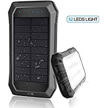 Solar Charger with Strong LED Flashlight, 10000mAh Solar Phone Charger with Dual USB Port, Outdoor Portable Solar Power Bank Built-in Strong 52LED Flashlight for Camping, Travelling & other Activities