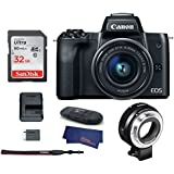 Canon EOS M50 Mirrorless Digital Camera with 15-45mm Lens -Black (USA Warranty) + Canon EOS M Mount Adapter for Canon EF/EF-S Lenses - 6098B002