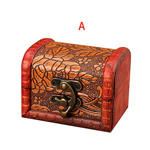 Saying Dresser Storage Box, Wooden Handmaded Vintage Jewelry Box with Mini Metal Lock for Storing Jewelry Treasure Pearl (Style - a)