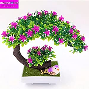 Inteeon Artificial Bonsai Artificial decorative flowers wreaths plants bonsai fake pine trees Komatsu vase 14