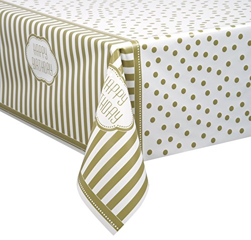 Golden Birthday Plastic Tablecloth, 84