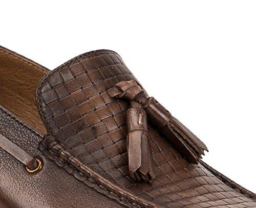 Tortue 1bacha Unisexe Cuir Gland Weave Slip-on Mocassins Chaussures Café Marron