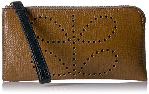 Orla Kiely Punched Stem Flat Zip Wallet, Nutmeg by Orla Kiely