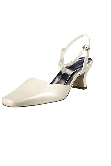 6f9a159e9def49 Dymastyle Chaussure de Mariage à Talon Moyen pour Femme 2 Coloris - Écru -  P-