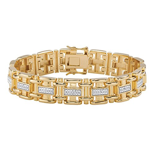 Men's White Diamond Accent 14k Yellow Gold-Plated Bar-Link Bracelet 8.5
