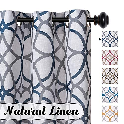 H.VERSAILTEX Natural Linen Blended Airy Curtains for Living Room Home Decor Soft Rich Material Light Reducing Bedroom Drape Panels, Set of 2, 52 x 96 -Inch - Grey and Navy Geo Pattern