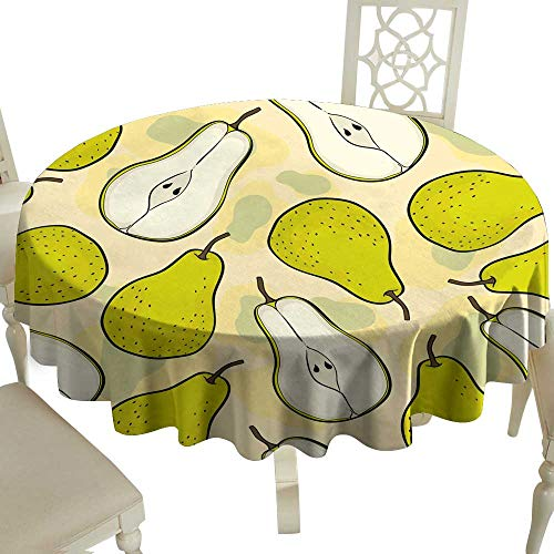 WinfreyDecor Oil-Proof and Leak-Proof Tablecloth pear Pattern Fruit Hand Draw Vector Indoor Outdoor Camping Picnic D35 ()