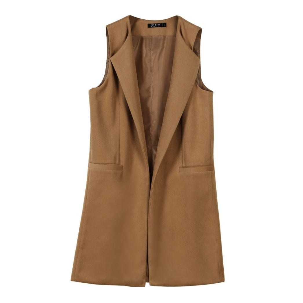 FNKDOR Autumn Clearance Womens Office Concert Party Formal Solid Sleeveless Waistcoat Vest Gilet Jacket Coat Parka Outwear Cardigan Ulster