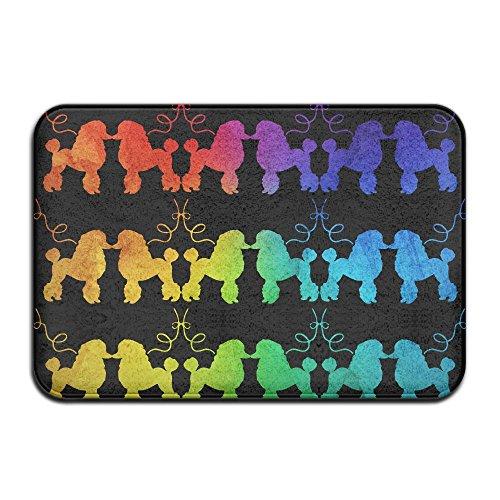 Poodle Door Mat (Cute Rainbow French Poodle Non Slip Doormat Entrance Mat Floor Mat Rug Dirt Trapper Mats 15.7