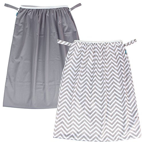 Teamoy (2 Pack) Reusable Pail Liner for Cloth Diaper/Dirty Diapers Wet Bag, Gray Chevron+Slate
