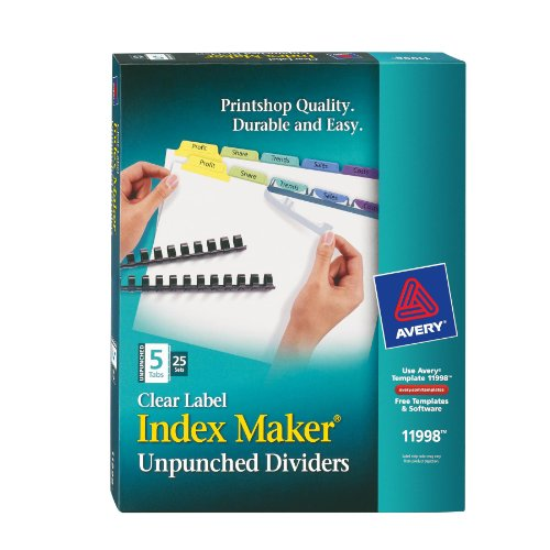 Avery Index Maker Clear Label Dividers, Easy Apply