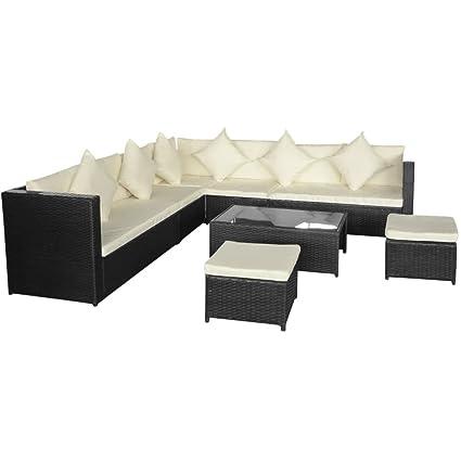 vidaXL Conjunto de Sofás Muebles de Jardín 29 Piezas Ratán Sintético ...