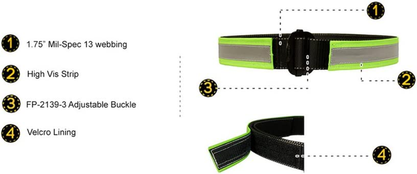 Fusion Tactical Military Police High Visibility Reflective Belt Type C Neon Green Medium 33-38//1.75 Wide