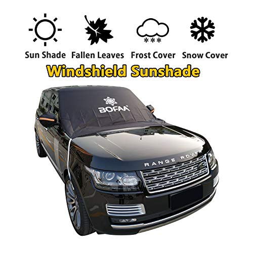 BOFAA Car Windshield Sunshade(Non-Magnetic), Sun Shade for Car Windshield with Mirror Covers,Blocking UV Sun Rays,Fallen Leaves, Snow,Elastic Hooks Design Will Not Scratch Paint (L - 96 x 59 inches) ()