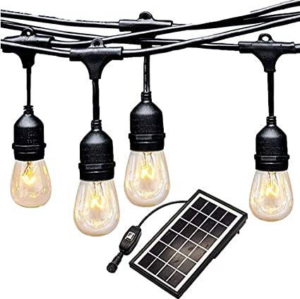 Ashialight Outdoor Solar Powered Led String Lights 10 Lights 42ft Heavy Duty Low Voltage 2 Watt Vintage Led Edison Light Bulbs Bistro Cafe Lights