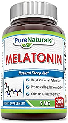 Amazon.com: Pure Naturals Melatonin 5 Mg 360 Tablets - Helps Reducing Anxiety and Stress: Health & Personal Care