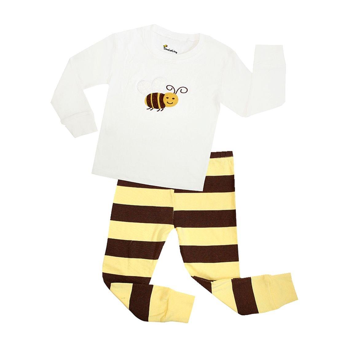 Girls Pajamas Easy Cotton Long Sleeves Toddler Bees Kids Pjs Sleepwear 2 Piece