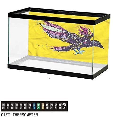 - bybyhome Fish Tank Backdrop Animal,Colorful Vivid Wings Crow,Aquarium Background,30