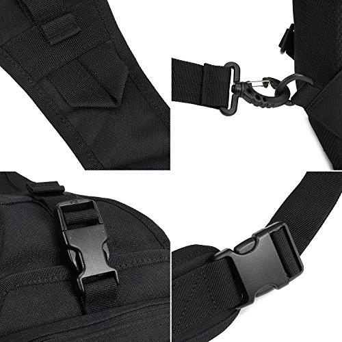 Barbarians Tactical Sling Bag Pack with Pistol Holster, Military Shoulder Bag Satchel, Range Bag Daypack Backpack (Black)