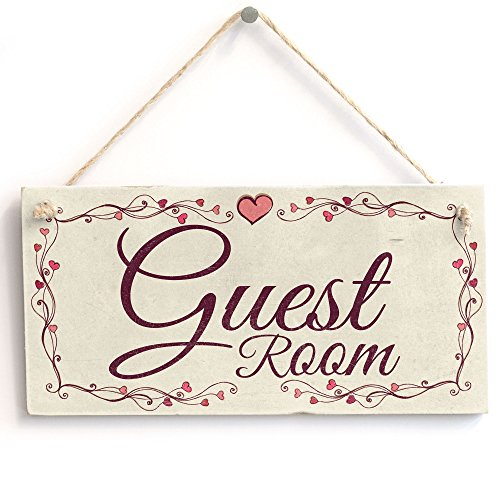 Guest Room - Heart Design Handmade Shabby Chic Wooden Sign/Plaque