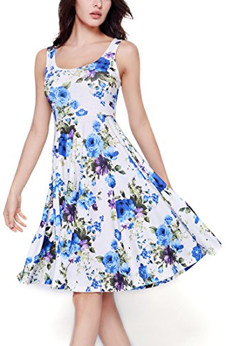 Starw Womens Summer Casual Fit and Flare Floral Sleeveless Party Evening Cocktail Dress AP0010XL - Dress Sleeveless Flare