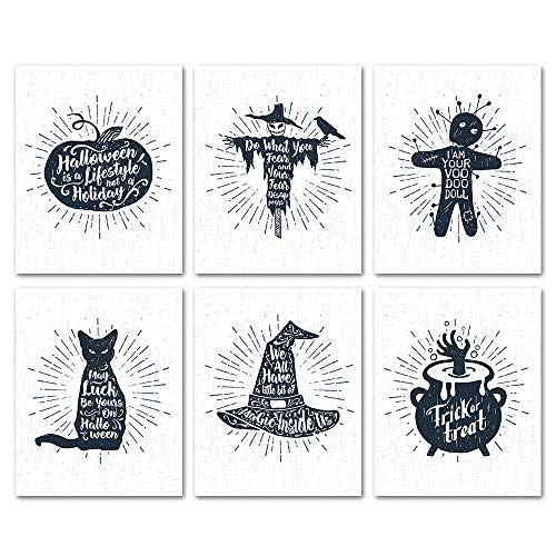 SUMGAR Halloween Decorations Black and White Art Prints Quotes and Sayings All Hallows Upcycled Papers Posters, Set of 6 Unframed, 8x10s -