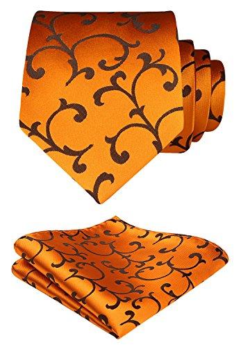 HISDERN Extra Long Floral Paisley Tie Handkerchief Men's Necktie & Pocket Square Set (Gold & Orange) (Tie Long Paisley Extra Gold)