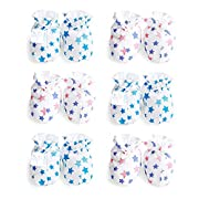 Himipopo 6 Pack Cotton Newborn Baby Infant Mittens Gloves No Scratch 0-3 Months 3 Color (Blue stars)