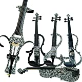 Leeche Premium Solid Wood Electric Violin Full Size 4/4 Advanced 3-Band-EQ Electric Silent Art Black Flowers Violin Kit With Case,Bow,Rosin,headphones,Shoulder Rest,Strings,Finger Guide