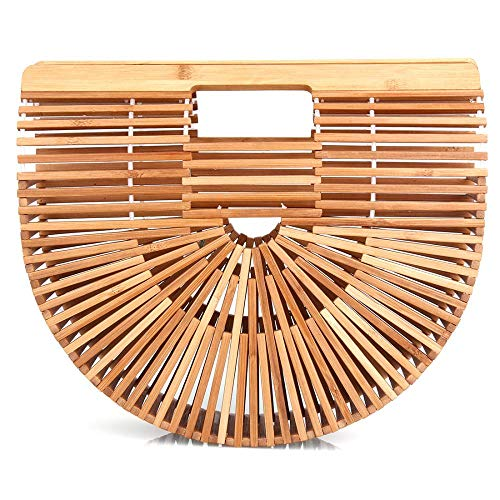 Bamboo Classic Handbag - Women's Classic Bamboo Tote Bag Handbag Chic Handwoven Durable Top Handle Bag Handbags for Beach Summer Travel and Daily Use (Original color)