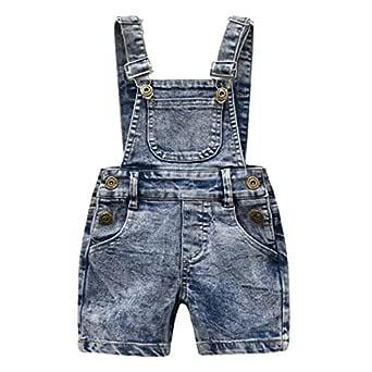 Mornyray Toddler Kids Boys Casual Denim Bib Pants Retro One Piece Overalls Size (4-5T) 110 (Gray)