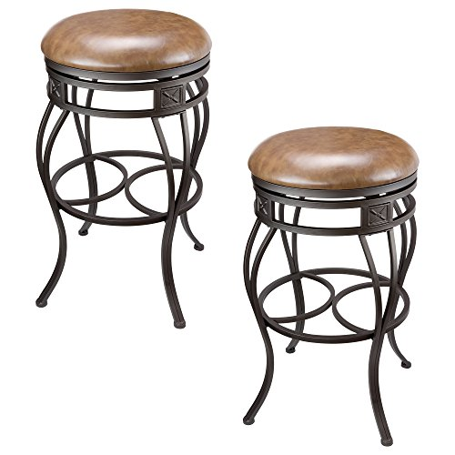 Kira Home Monarch 30″ Backless Swivel Bar Stool, Old Steel Finish, Brown Faux Leather Seat, Set of 2