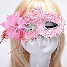 Xnferty Halloween masks Masquerade Mask Lace Rhinestone Leather Princess Flower Masks for Pretty Party (Pink)