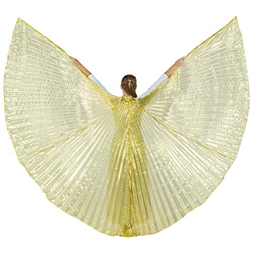 Danzcue 360 Degree Worship Isis Wings, Transparent Gold, M-L-Adult ()