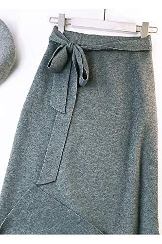 Línea Yulinge Cintura De Faldas Midi Mujer Alta Gris A Con Para Tiras rw0IrXq