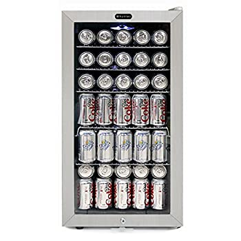 Image of Beverage Refrigerators Whynter BR-128WS Lock, 120 Can Capacity, Stainless Steel Beverage Refrigerator, White