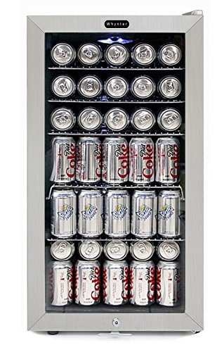 Whynter BR-128WS Beverage Refrigerator with Lock, 120 Can Capacity, Stainless Steel