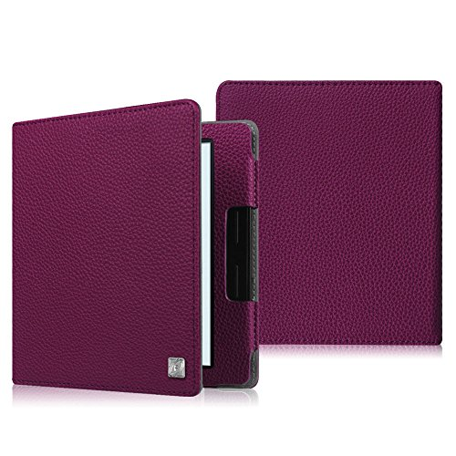 Merlot Leather Folio (Fintie Folio Case for Kindle Oasis (8th Generation, 2016 Released ONLY) - The Book Style Premium Vegan Leather Cover with Auto Sleep/Wake Feature for Amazon 6-Inch Kindle Oasis E-reader, Purple)