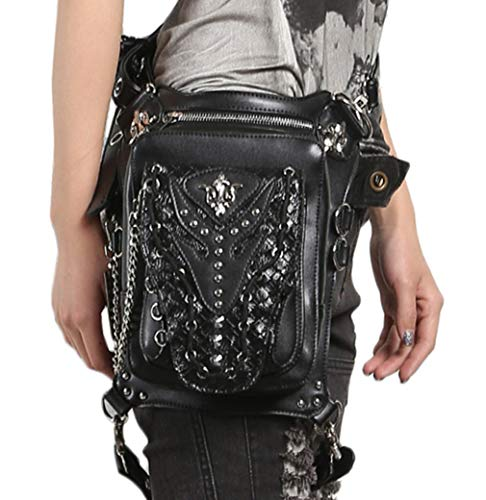 MIRUIKE Steampunk Leather Multifunction Purses Handbag Gothic Black Waist Packs Retro