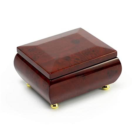 Gorgeous Wood Tone Classic Beveled Top Music Jewelry Box Musical Jewelry Box for Wedding Gifts, Wood Music Box, Jewelry Organizer Case for Rings Earrings with 400 Song Selections