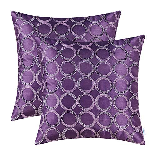 (CaliTime Pack of 2 Cushion Covers Throw Pillow Cases Shells for Sofa Couch Home Decoration 18 X 18 Inches Modern Circles Rings Geometric Chain Embroidered Purple)