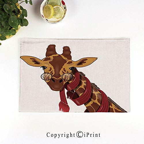 (LIFEDZYLJH 4Pcs Simple Style Decorative Washable Anti-Slip Woven Flax-Like Table Placemats,Illustration of Giraffe Wearing Glasses in a Red Scarf Smart Looking Fun Art,Redwood Marigold)